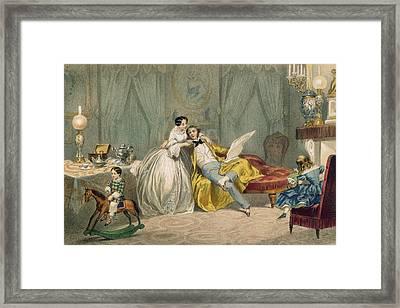 Au Coin Du Feu Framed Print by Henri de Montaut