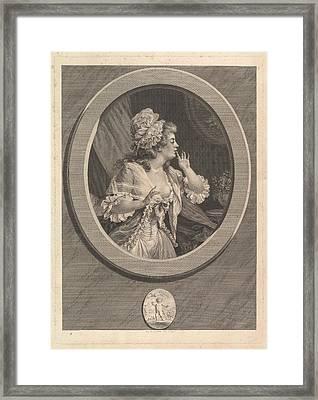 Au Moins Soyez Discret At Least Framed Print by Augustin de Saint-Aubin
