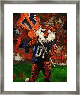 Aubie Running Flags Framed Print by Carole Foret
