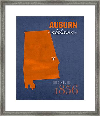 Auburn University Tigers Auburn Alabama College Town State Map Poster Series No 016 Framed Print