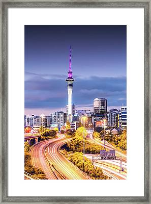 Auckland Cbd At Dusk, New Zealand Framed Print by Matteo Colombo