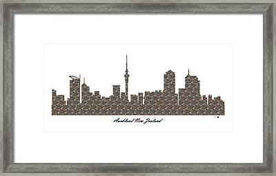 Auckland New Zealand 3d Stone Wall Skyline Framed Print