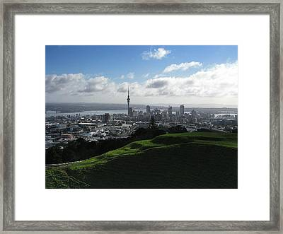 Auckland With Mt. Eden Framed Print by David and Mandy