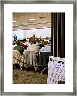 Auction Of Oil And Gas Rights Framed Print by Jim West