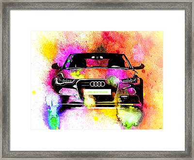 Audi A6 Avant Watercolor Framed Print by Daniel Janda