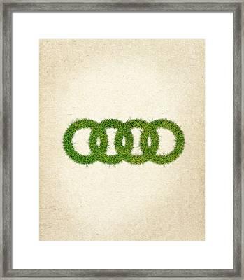 Audi Grass Logo Framed Print by Aged Pixel