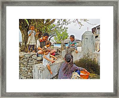 Audience For Girls Doing Laundry In The Mother's Village-nepal Framed Print by Ruth Hager