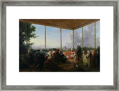 Audience Given In Constantinople By The Grand Vizier Aimali Carac For Francois-emmanuel Guignard Framed Print by Francesco Giuseppe Casanova