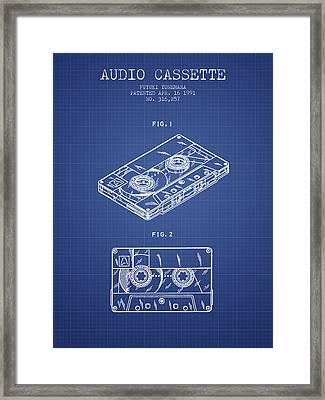 Audio Cassette Patent From 1991 - Blueprint Framed Print