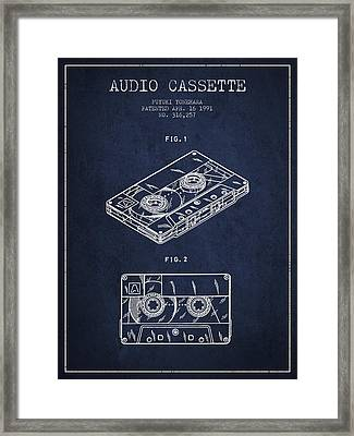 Audio Cassette Patent From 1991 - Navy Blue Framed Print