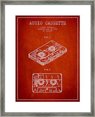 Audio Cassette Patent From 1991 - Red Framed Print by Aged Pixel