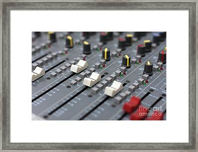 Framed Print featuring the photograph Audio Mixing Board Console by Gunter Nezhoda