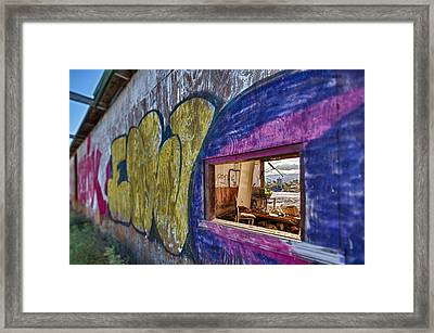 Audition Chair Graffiti Wall Framed Print by Scott Campbell