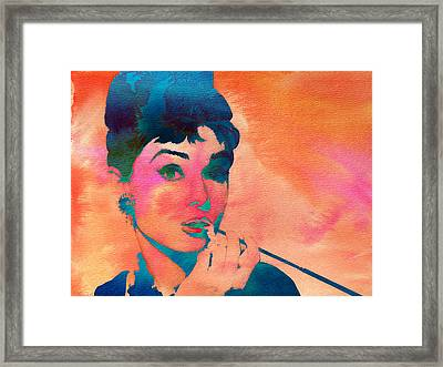 Framed Print featuring the painting Audrey Hepburn 1 by Brian Reaves