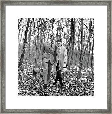Audrey Hepburn And Husband Walking In The Woods Framed Print
