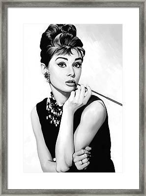 Audrey Hepburn Artwork Framed Print by Sheraz A