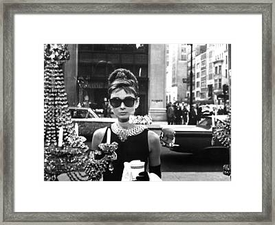 Audrey Hepburn Breakfast At Tiffany's Framed Print by Georgia Fowler