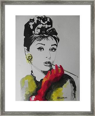 Audrey Hepburn Framed Print by Chrisann Ellis