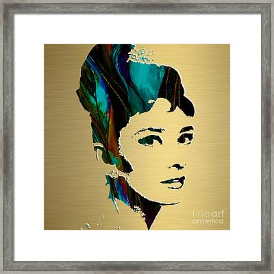 Audrey Hepburn Gold Series Framed Print by Marvin Blaine