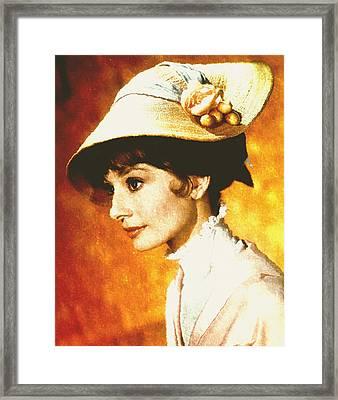Audrey Hepburn - Impressionism Framed Print by Georgiana Romanovna