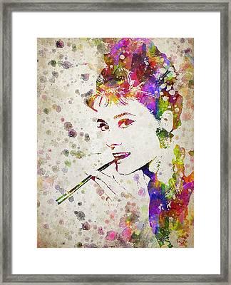 Audrey Hepburn In Color Framed Print by Aged Pixel