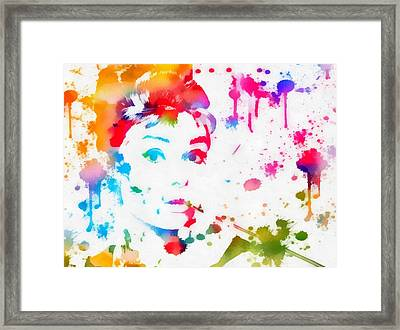 Audrey Hepburn Paint Splatter Framed Print by Dan Sproul