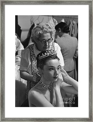 Audrey Hepburn Preparing For A Scene In Roman Holiday Framed Print