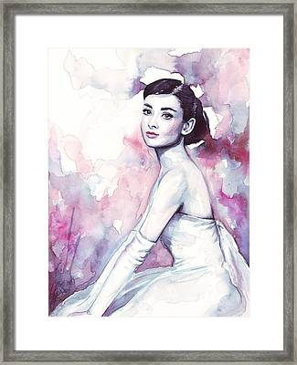 Audrey Hepburn Purple Watercolor Portrait Framed Print