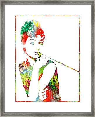 Audrey Hepburn - Watercolor Framed Print