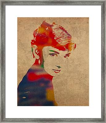 Audrey Hepburn Watercolor Portrait On Worn Distressed Canvas Framed Print
