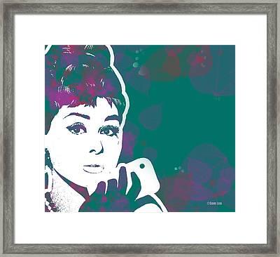 Audrey Hepburn With Iphone03 Framed Print