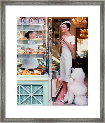 Audrey Marnay At A Patisserie With A Poodle Framed Print