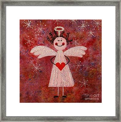 Framed Print featuring the painting Audrey The Angel by Jane Chesnut