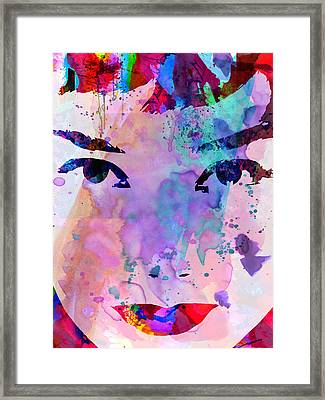 Audrey Watercolor Framed Print by Naxart Studio
