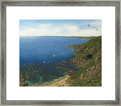 August Afternoon At Whitsand Bay Cornwall Framed Print by Richard Harpum