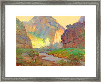 August On The Rogue River Zion Framed Print by Ernest Principato