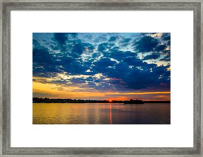 August Sunset Over Lake Nagawicka Framed Print