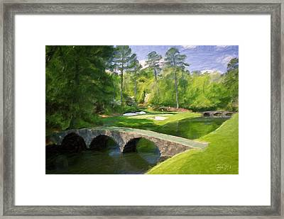 Augusta National Hole 12 - Golden Bell 2 Framed Print by Scott Melby