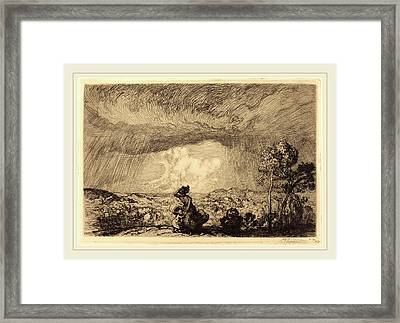 Auguste Lepère, Storm On The Dune, Vendee Lorage Sur La Framed Print by Litz Collection