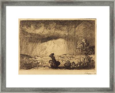 Auguste Lepère, Storm On The Dune, Vendee Lorage Sur La Framed Print by Quint Lox