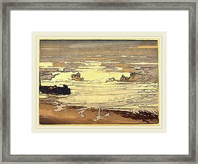 Auguste Lepère, Unfurled Waves, Flood Of September 1901 Framed Print by Litz Collection