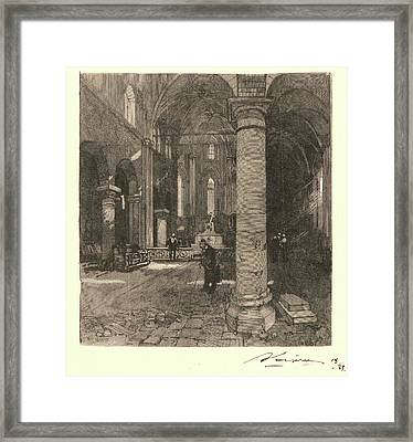 Auguste Louis Lepère French, 1849 - 1918. Church Interior Framed Print by Litz Collection