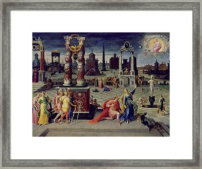 Augustus And The Tiburtine Sibyl Oil On Canvas Framed Print by Antoine Caron