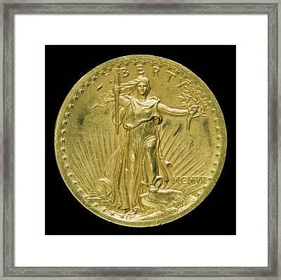 Augustus Saint-gaudens, Double Eagle Twenty Dollar Gold Framed Print by Litz Collection