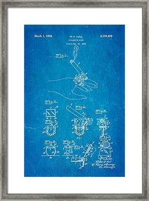 Aull Cigarette Ring Patent Art 1938 Blueprint Framed Print by Ian Monk
