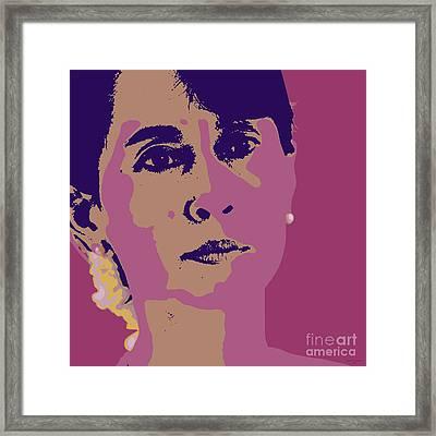 Aung San Suu Kyi Framed Print by Jean luc Comperat