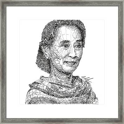 Aung San Suu Kyi Framed Print by Michael Volpicelli