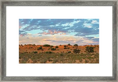 Auob Riverbed With Clouds At Dusk Framed Print