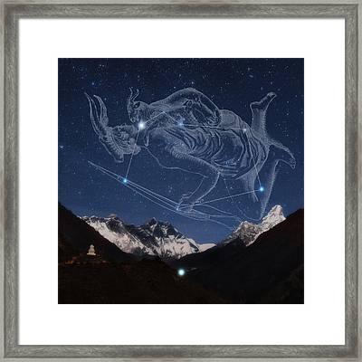 Auriga Over The Himalayas Framed Print by Babak Tafreshi