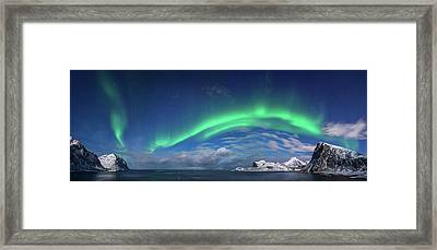 Aurora Borealis Above Flaget Bay Framed Print by Panoramic Images